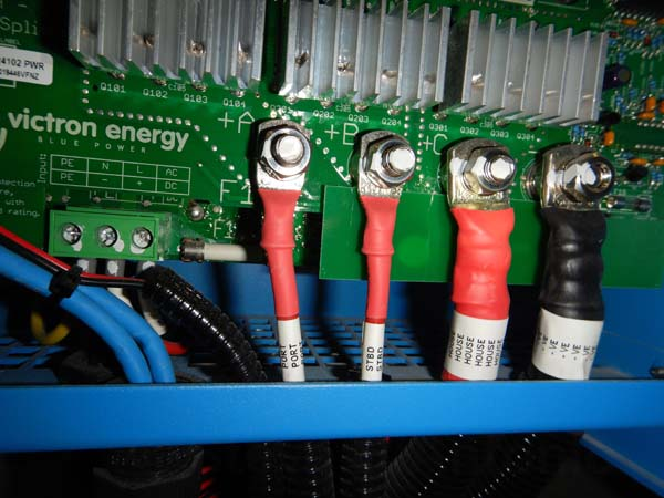 Wiring to Victron battery charger. One VERY nice detail: You can see that Grand Banks labels both ends of the wires.